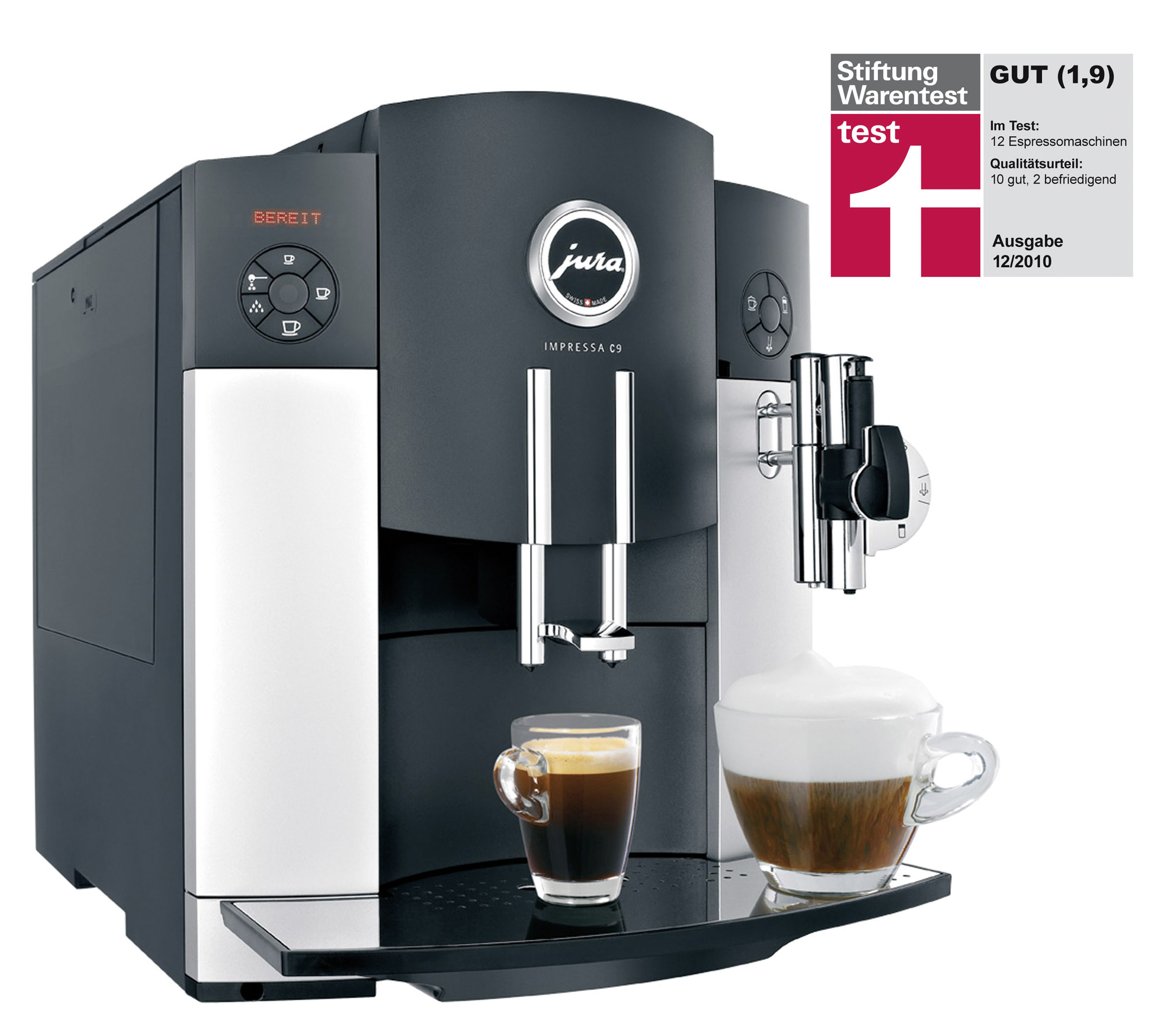 jura kaffeevollautomat impressa c9 mit sonderlob f r exzellenten cappuccino. Black Bedroom Furniture Sets. Home Design Ideas
