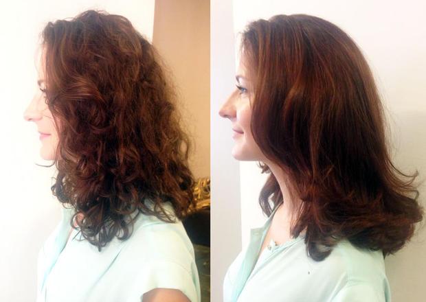 Woman-Redakteurin Nadja Kupsa vor und nach einer Keratin-Behandlung. (Bild: Woman)