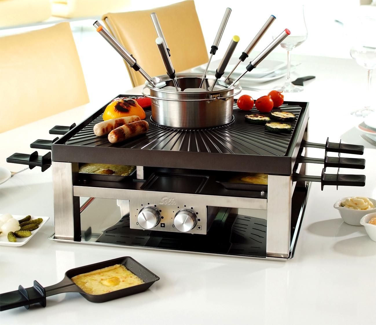 solis combi grill 3 in 1 fondue tischgrill raclette in einem. Black Bedroom Furniture Sets. Home Design Ideas