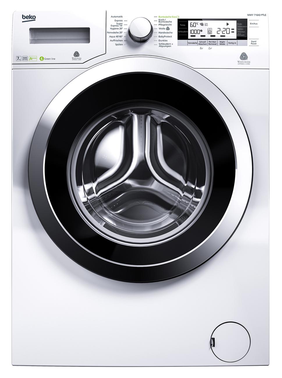 beko waschmaschine wmy 71643 ptle hohe flexibilit t. Black Bedroom Furniture Sets. Home Design Ideas