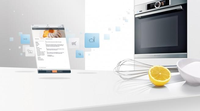 Marktreif: Mit den Backöfen der Serie 8 hat Bosch erstmals Hausgeräte auf den Markt gebracht, die über WLAN miteinander verbunden sind und von mobilen Endgeräten aus gesteuert werden können.