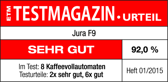 Logo ETM Testmagazin Kaffeevollautomat Jura F9