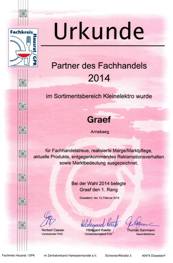 """Graef Urkunde """"Partner des Fachhandels 2014"""""""