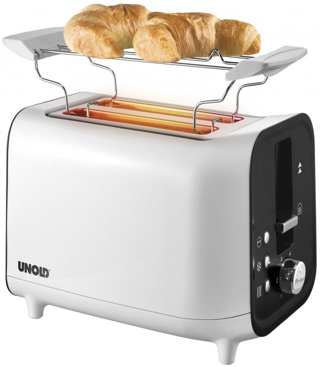 Der Unold Toaster Shine White mit Brötchenaufsatz