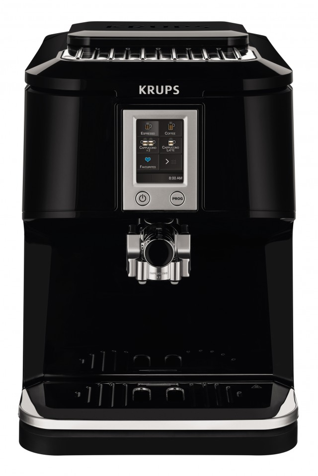 Krups Two-in-One-Touch-Cappuccino Vollautomat EA8808 mit One-Touch-Cappuccino-Funktion.