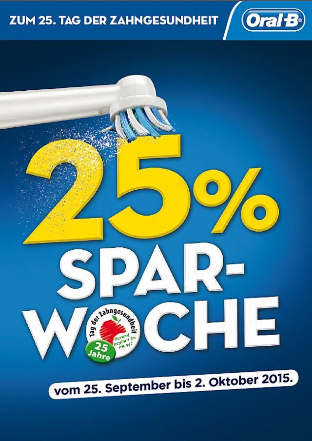 Oral-B gibt 25% Rabatt auf ausgewählte Produkte.