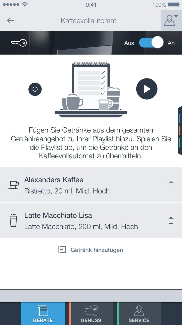 """Die Funktion """"Playlist"""" beim Siemens Einbau-Kaffeevollautomat."""