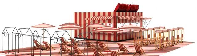 """Café """"Rimini Rimini"""" –die Ambiente verspricht Urlausstimmung im Messetrubel."""