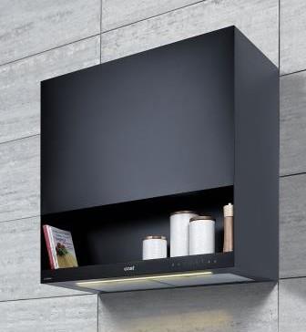 Die Cast-Wandhaube CWB 9831 ANP von Beko ähnelt eher einem Möbelstück. Das integrierte Regalfach bietet zusätzlichen Stauraum.