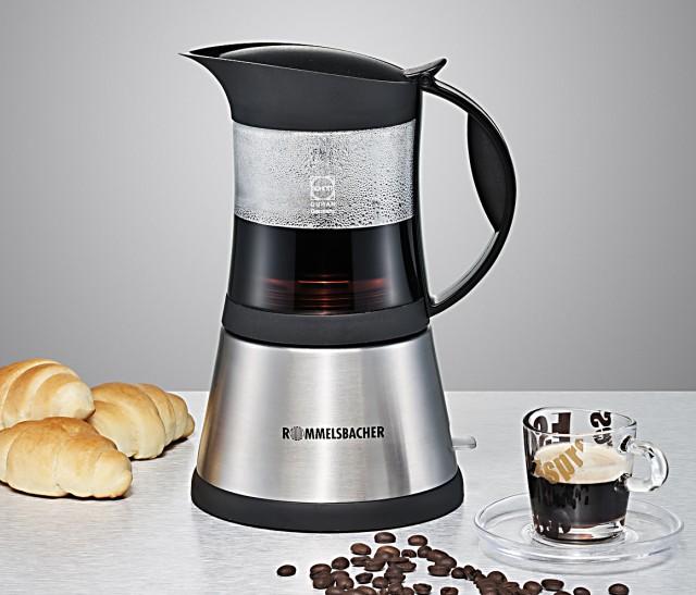 Rommelsbacher Espressomaschine EKO 376G mit Filtereinsatz für 3 oder 6 Tassen.