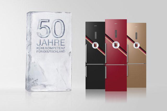 50 Jahre Kühlen mit Gorenje in Deutschland: Als Jubiläumsaktion gibt es seit vergangener Woche drei exklusive Sondermodelle in Schwarz, Rot, Gold.