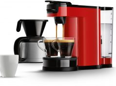 Die Philips Senseo Switch Kaffemaschine in Rot