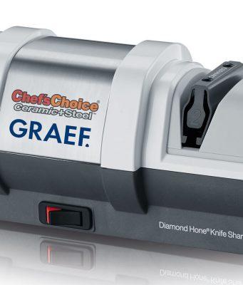 Graef Messerschärfer CC250 mit diamantbeschichteten Schleifscheiben.