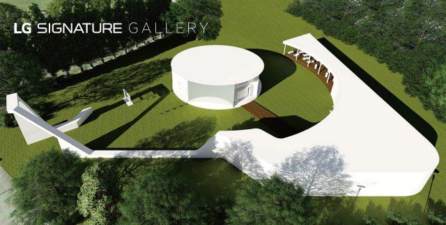 Die LG Signature Kunstgalerie wurde auf einem 1.375 qm großen Gartenareal entworfen, das direkt an LGs Messestand in Halle 18 angrenzt.