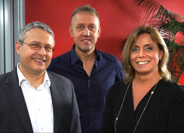 Der Vorstand der Unold AG wenige Tage vor der IFA (v.l.): Michael Unold, Michael Grabaum und Yvonne Unold.