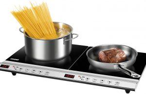 Unold Induktionskochplatte Doppel Profi Plus mit zwei Kochfeldern.