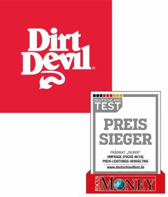 """Dirt Devil ist eine starke Marke mit gutem Preis-Leistungsverhältnis - ausgezeichnet im Deutschland Test von Focus-Money mit dem """"Preissieger"""" in Silber."""