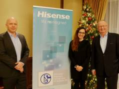 Gehen zielgerichtet den deutschen Markt an: Uwe Paul, Commercial Director Hisense Germany, Monika Dugandzic, Head of Marketing und Hans Wienands, Senior Vice President Hisense Germany (v.li.).
