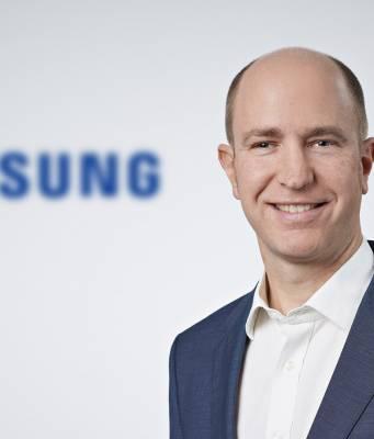 Thorsten Bross, Head of Marketing für Samsung Home Appliances, ist pünktlich zum Start der Hausgeräte-Offensive mit an Bord.