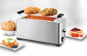 Unold Toaster Edelstahl 4er ist ein Doppel-Langschlitz-Toaster für vier Scheiben.