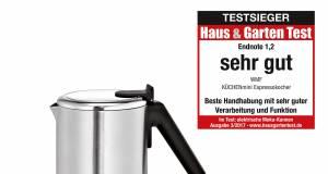 """Testsieg: Mit """"sehr gut"""" und der Note 1,2 wurde der WMF KÜCHENminis Espressokocher Klassenbester."""
